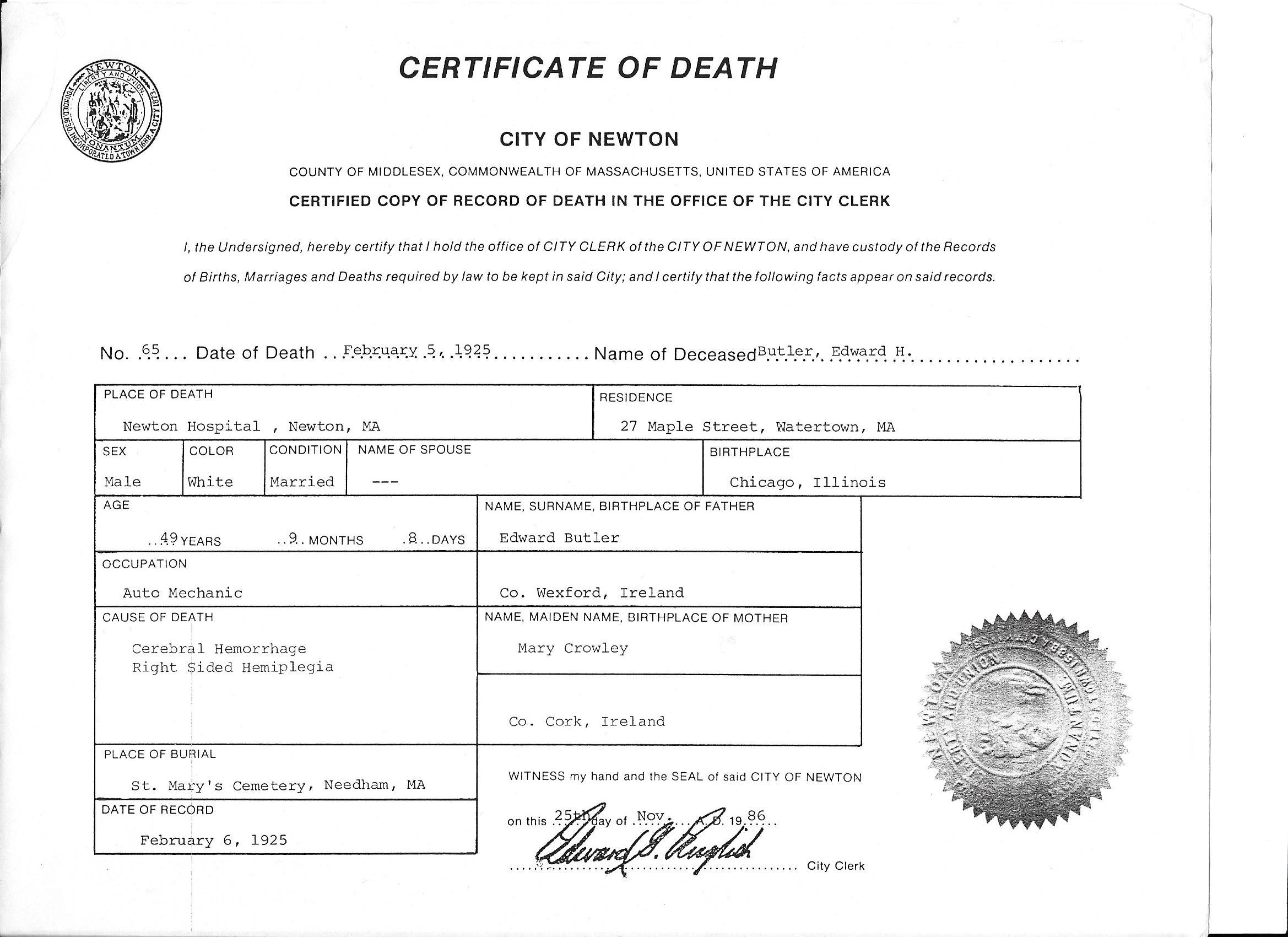 Edward H Death 1925